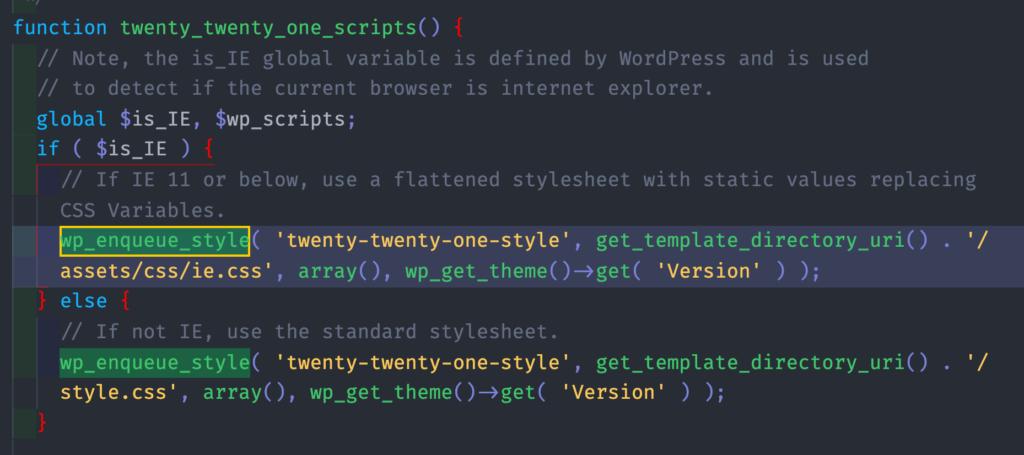 "screen capture from WordPress's default theme ""twentytwentyone"""